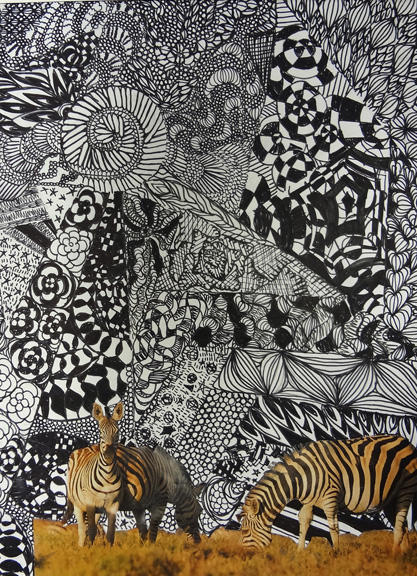 Combining collage and zentangles is a great way to introduce Art I students to Line and Shape.