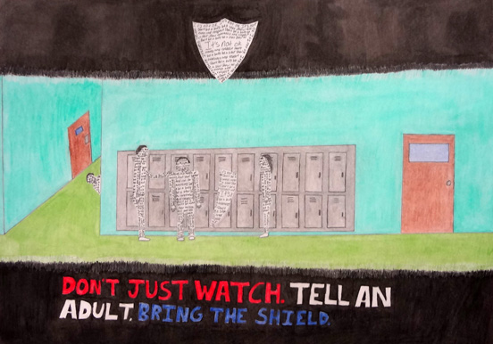 Students use colored pencil techniques to create a Safe City poster.