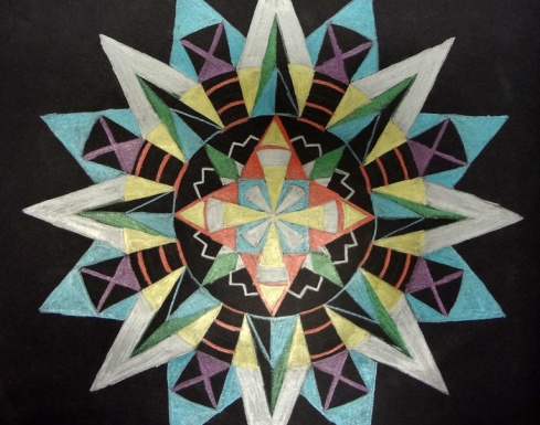 Metallic mandalas are a relaxing way to teach Emphasis and Proportion.
