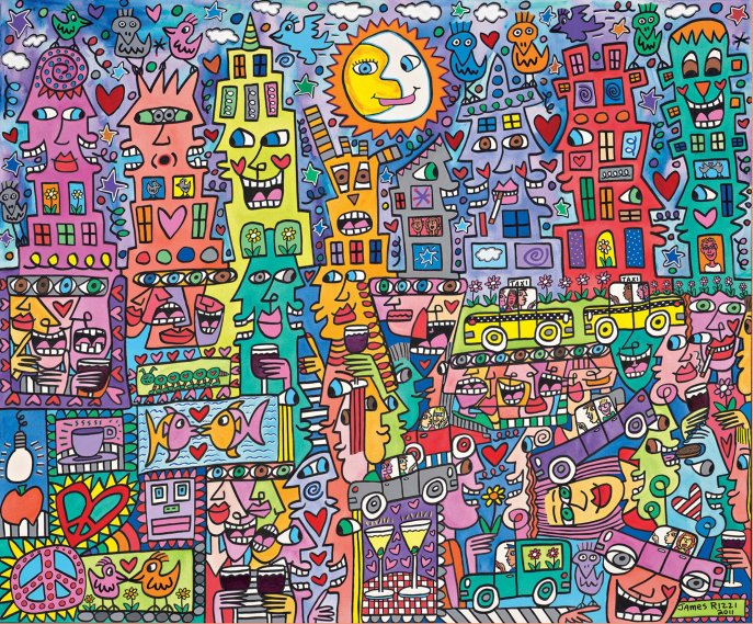 Students are inspired by James Rizzi's artwork to create wax resist landscapes or cityscapes.