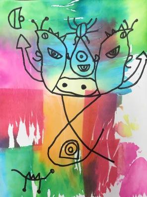Miro-inspired creatures using bleeding tissue paper and Sharpies.