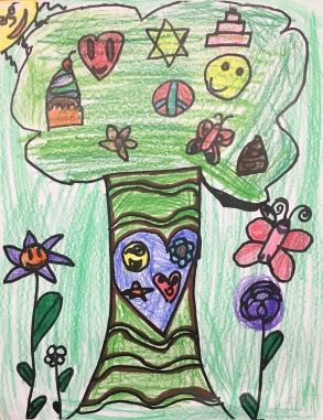 Students draw a coloring page, then color a photocopy of a classmate's drawing.