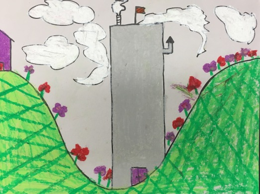 3rd graders use oil pastels to create a castle and landscape.