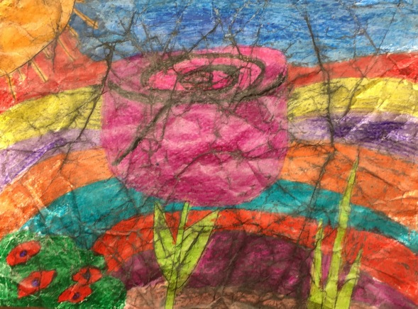 Students create wax resist artwork using crayons and india ink.