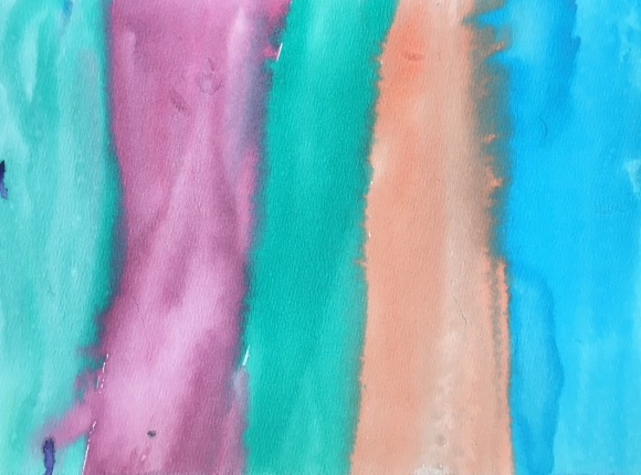 Students create artwork using watercolor washes inspired by Rothko.