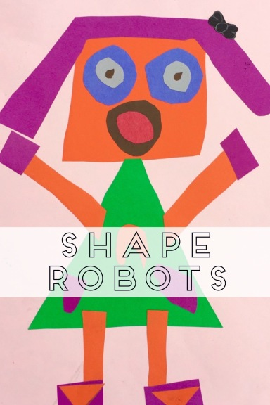 3rd graders use organic and geometric shapes to create robots.