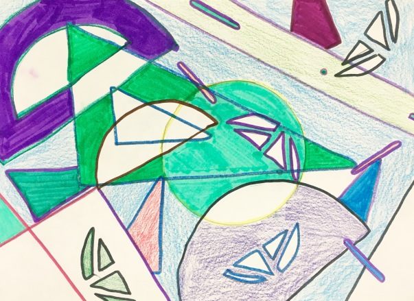 Student use positive and negative space to create art inspired by Frank Stella.