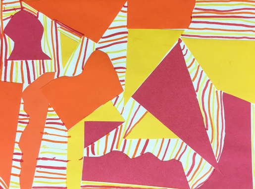 Students glue down organic and geometric shapes, then fill the background with warm or cool colored lines. Elementary art project
