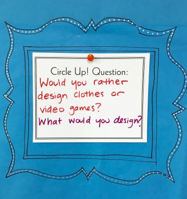End art class with Circle Up! questions that get kids thinking creatively.