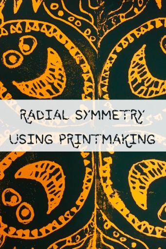 Students do printmaking using radial symmetry.