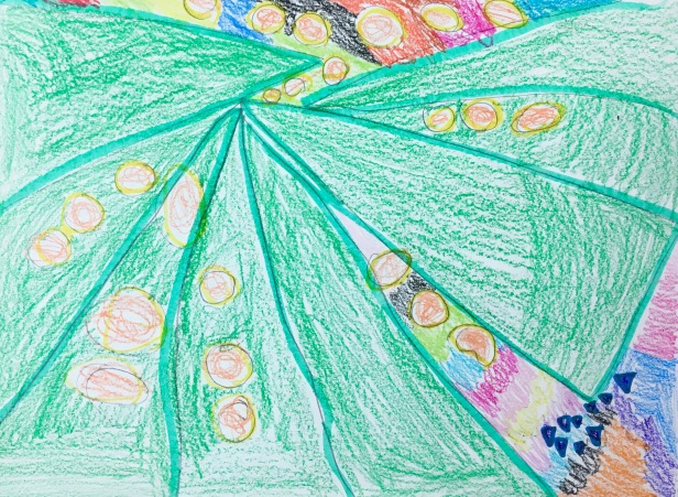 Elementary students use markers and crayons to create artwork using big, medium and small shapes.