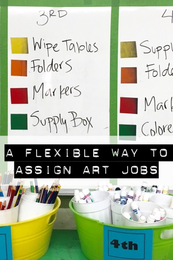 Color-coded seats provide a flexible way to assign jobs in art class.