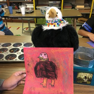 Students create observational drawings using chalk pastel.