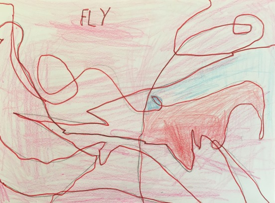 After reading Lines that Wiggle, second graders created a line drawing inspired by a verb.