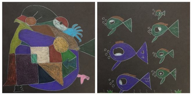 Inspired by Paul Klee, students draw one realistic and one abstract piece of artwork, then color them with metallic crayons.