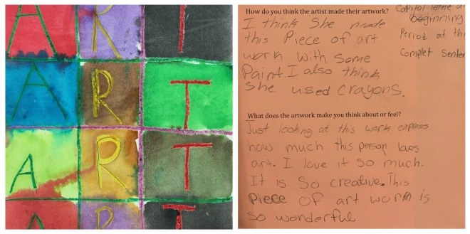 Fourth graders visited the Showcase and wrote about a piece of artwork created by a second grader.