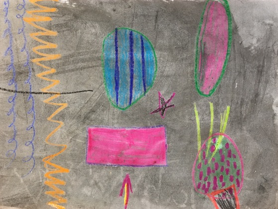 Inspired by Kandinsky, students play a drawing game using crayons. Then they paint over their artwork with ink.