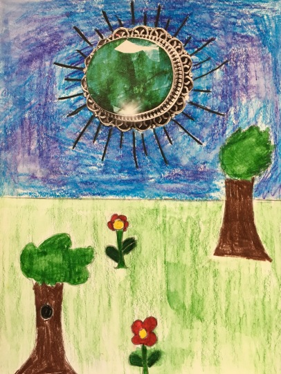 Create a Surreal Landscape using an image from a magazine and drawing a background using watercolor pencils.