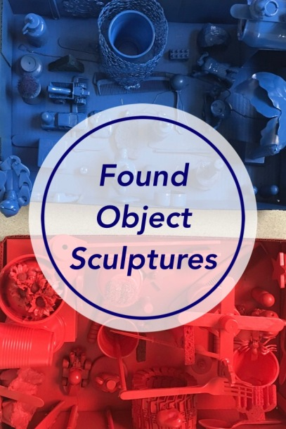 Create a Found Object Sculpture using small objects, a box lid, hot glue and spray paint.
