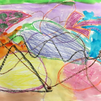Inspired by Kandinsky, students play a drawing game using crayons. Then they paint over their artwork with watercolor.