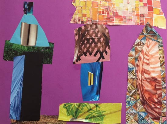 Make a city collage by cutting shapes out of patterned or textured magazine pages.
