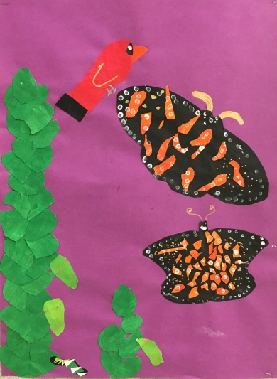 Create a collage with a group of artists about the life cycle of the monarch butterfly.